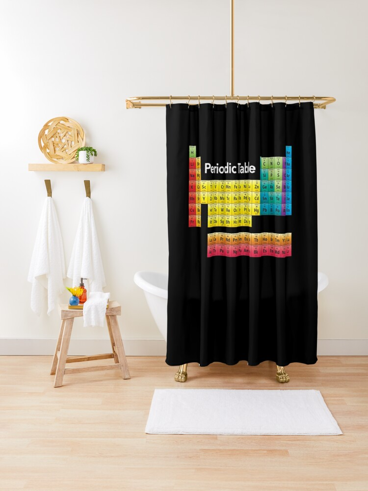 chemical periodic table shower curtain by vladocar redbubble