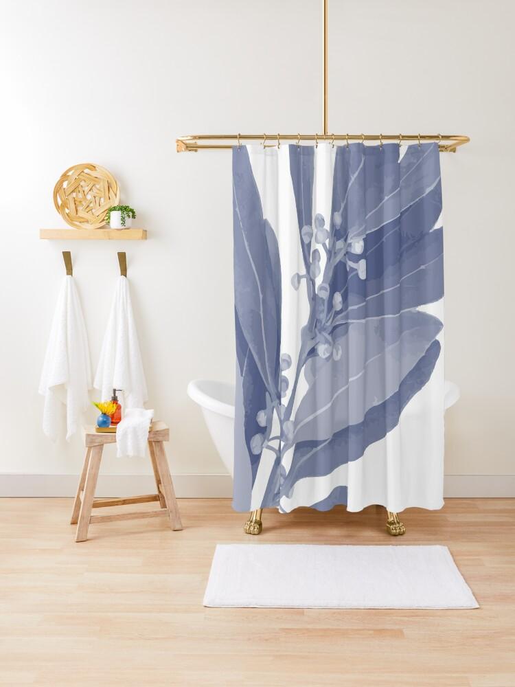 mediterranean indigo blue and white bay leaf botanical print shower curtain by hothibiscus redbubble