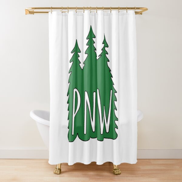 pnw evergreen pine trees shower curtain by eknicole redbubble