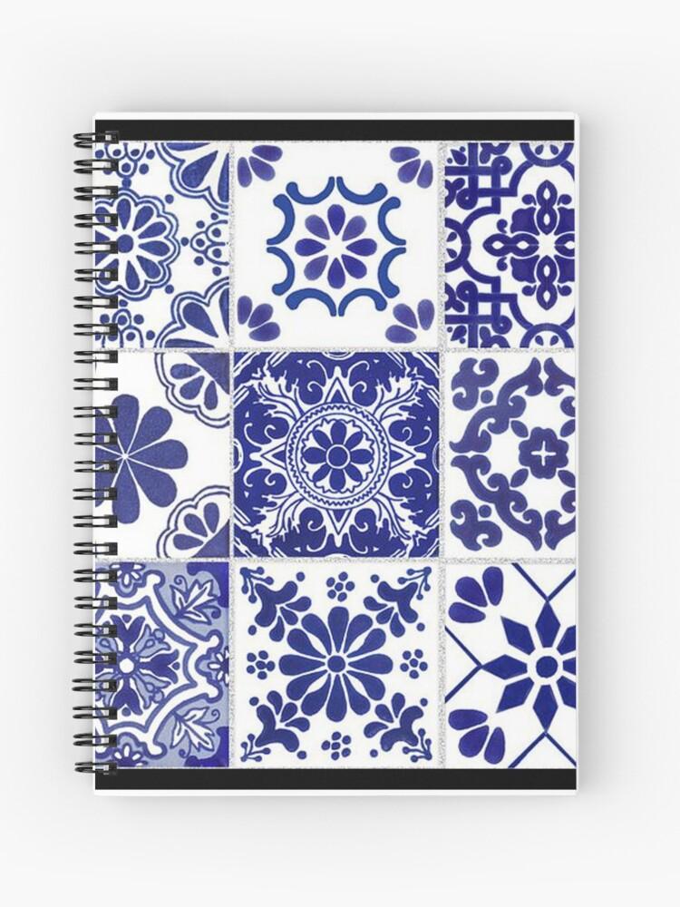 cahier a spirale carrelage bleu blanc zellige mediterranee par kim22080 redbubble