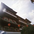 Buddhist temple lens flare