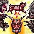 devil, pig, bat, black cat, witch tattoo flash