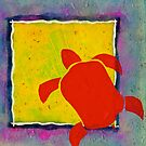 RED HONU SEA TURTLE YELLOW SQUARE by dkatiepowellart