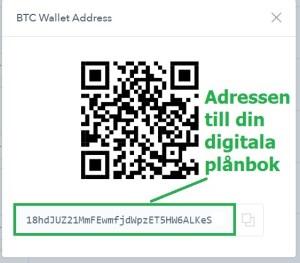 steg 4 adressen till din digitala plånbok för Bitcoin