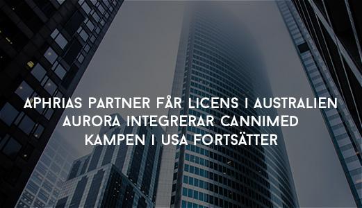 Aphrias partner får licens i Australien - Aurora integrerar CanniMed