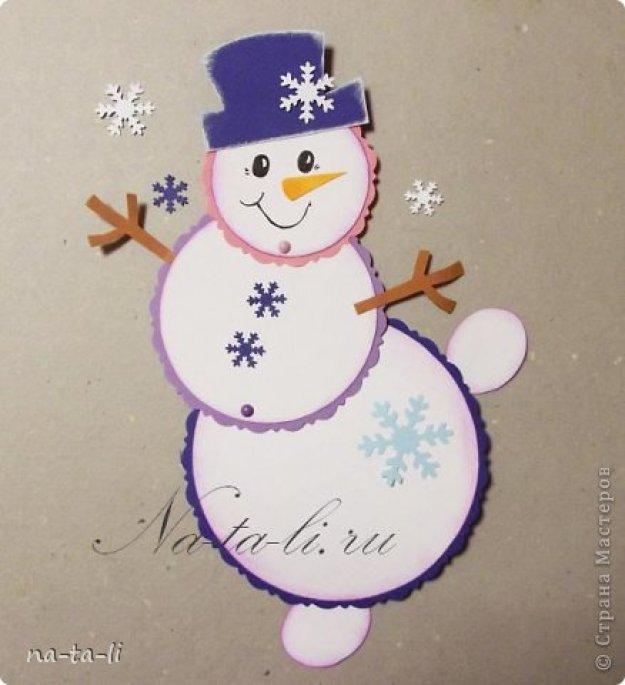 Новогодняя открытка своими руками из бумаги и картона снеговик, болею прикольная картинка