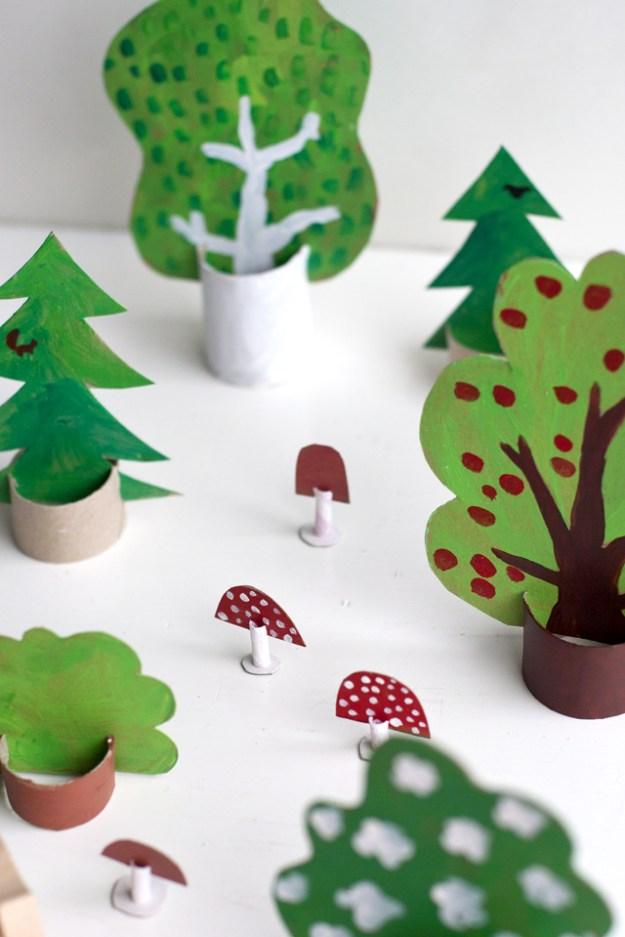 Картонный лес для детей3