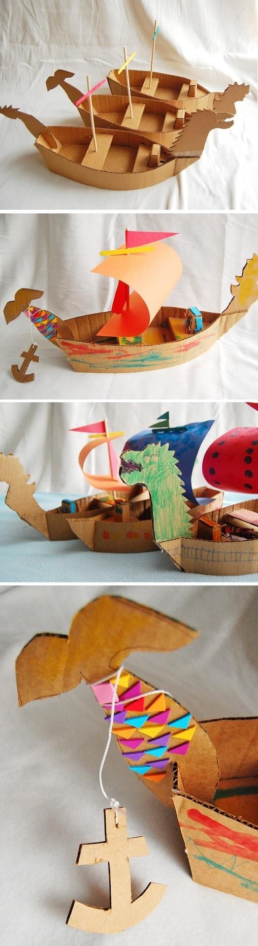 Кораблик из картона
