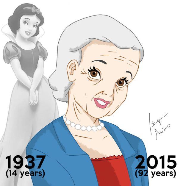 Белоснежке сейчас 92. Когда вышел мультфильм, ей было 14