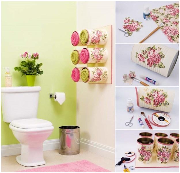 Если красиво покрасить старые жестянки - они вам очень пригодятся в ванной