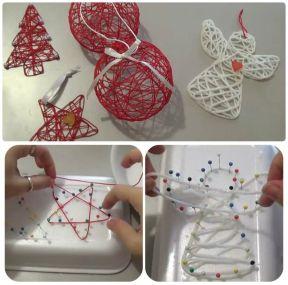 Мастер-класс по созданию игрушек на елку с помощью ниток, булавок и пенопласта
