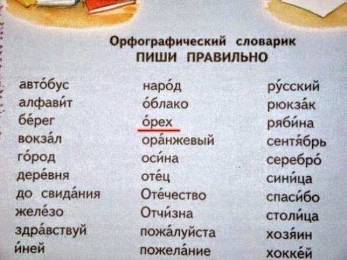 ошибка в орфографическом словаре