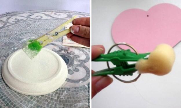 Кусочек паролона и прищепка - и кисточка для декоративной покраски готова