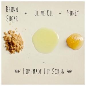 Сделайте себе натуральный и полезный скраб для губ из меда, коричневого сахара и оливкового масла, чтобы губки были гладкими и мягкими