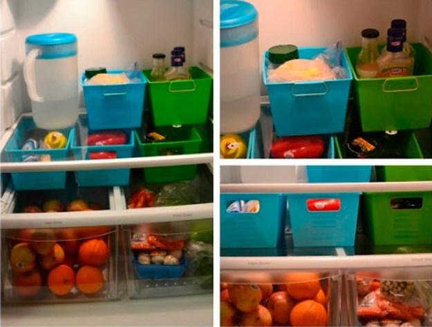 Обычные пластиковые контейнеры позволят каждый вид продуктов держать в порядке. И холодильник будет чист!