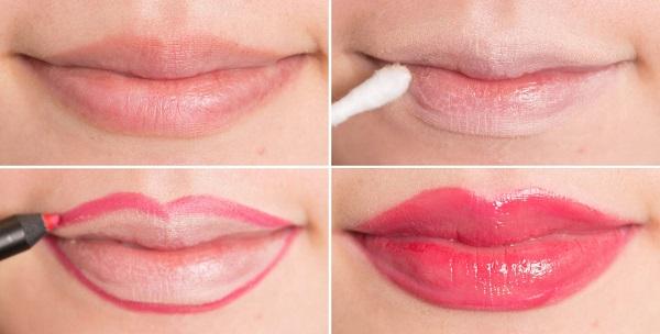 С помощью консилера можно немного менять форму и размер губ сначала замазываем свой контур губ, а затем карандашом прорисовываем нужную линию