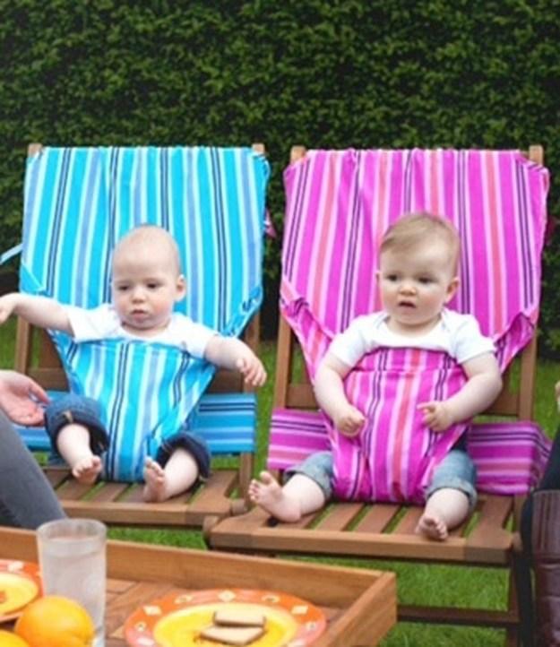 Тканевый детский стульчик, который можно прицепить где угодно, к любому стулу