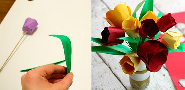 Проволоку обмотайте зеленой тонкой бумагой, чтобы он выглядел красиво. Вырежьте боковые зеленые листья тюльпана, немного согните их и приклейте к стебелю цветка