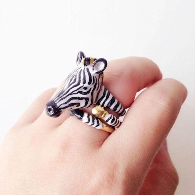 кольцо с зеброй