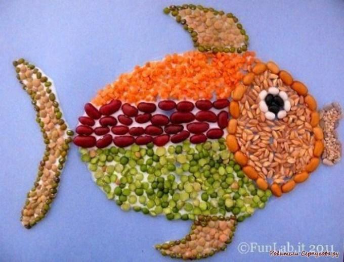 яркая рыбка из крупы
