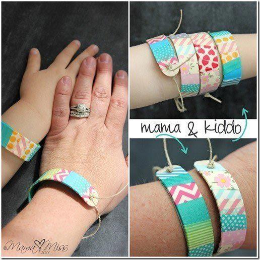 Предложите детям сделать браслеты из картона и веревок
