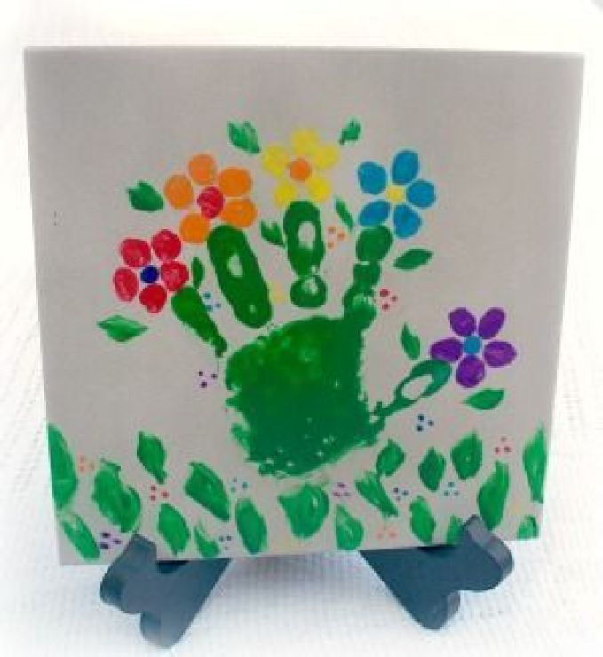 Открытка пальчиковыми красками на день рождения дедушке