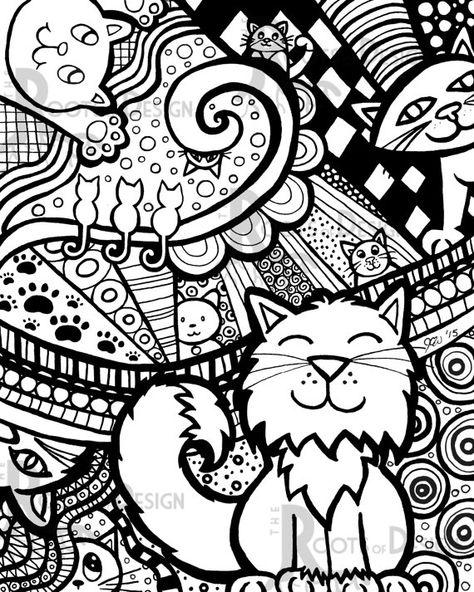 Раскраски Кошки и Котята для взрослых - распечатать в ...