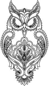 Раскраска для взрослых сова мудрая