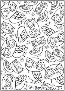 Раскраска для взрослых сова узор