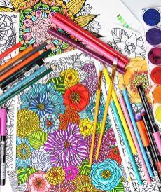 Раскрашенные раскраски цветочные мотивы
