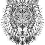раскраска антистресс сложная лев