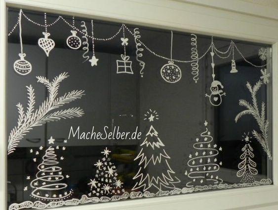 Рисунки на окнах к новому году дома