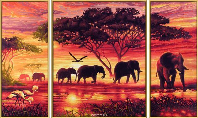 """Набор для рисования по номерам Schipper """"Африканские слоны"""", триптих, 50 х 80 см"""