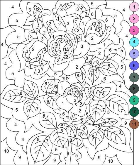 Раскраска по номерам простая для взрослых