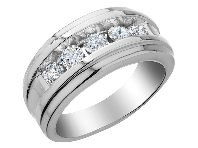 Mens Diamond Wedding Band 1.0 Carat (ctw) in 14K White Gold – 10 for $1,795