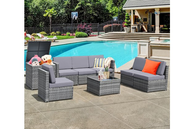 Costway 8 Piece Wicker Sofa Weaving Rattan Dinning Set Patio Furniture w/ Storage Outdoor – Grey for $849
