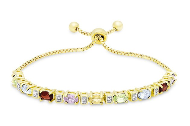 """Colors of the Rainbow Bolo Adjustable 7-9"""" 18K Gold Plated Bracelet for $10"""