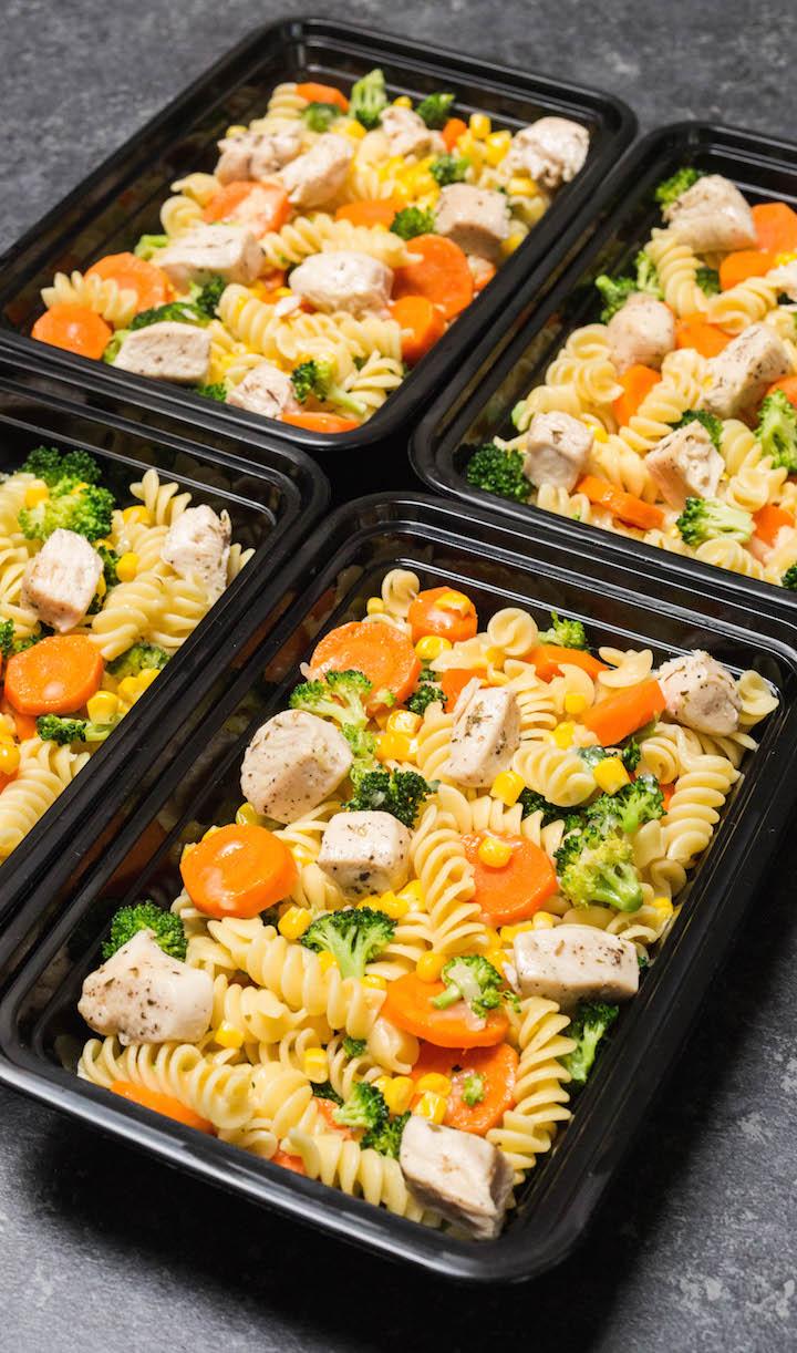 Garlic chicken veggie and pasta meal prep
