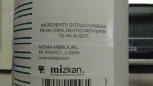 Knowing that the distilled vinegar comes from corn is very reassuring!