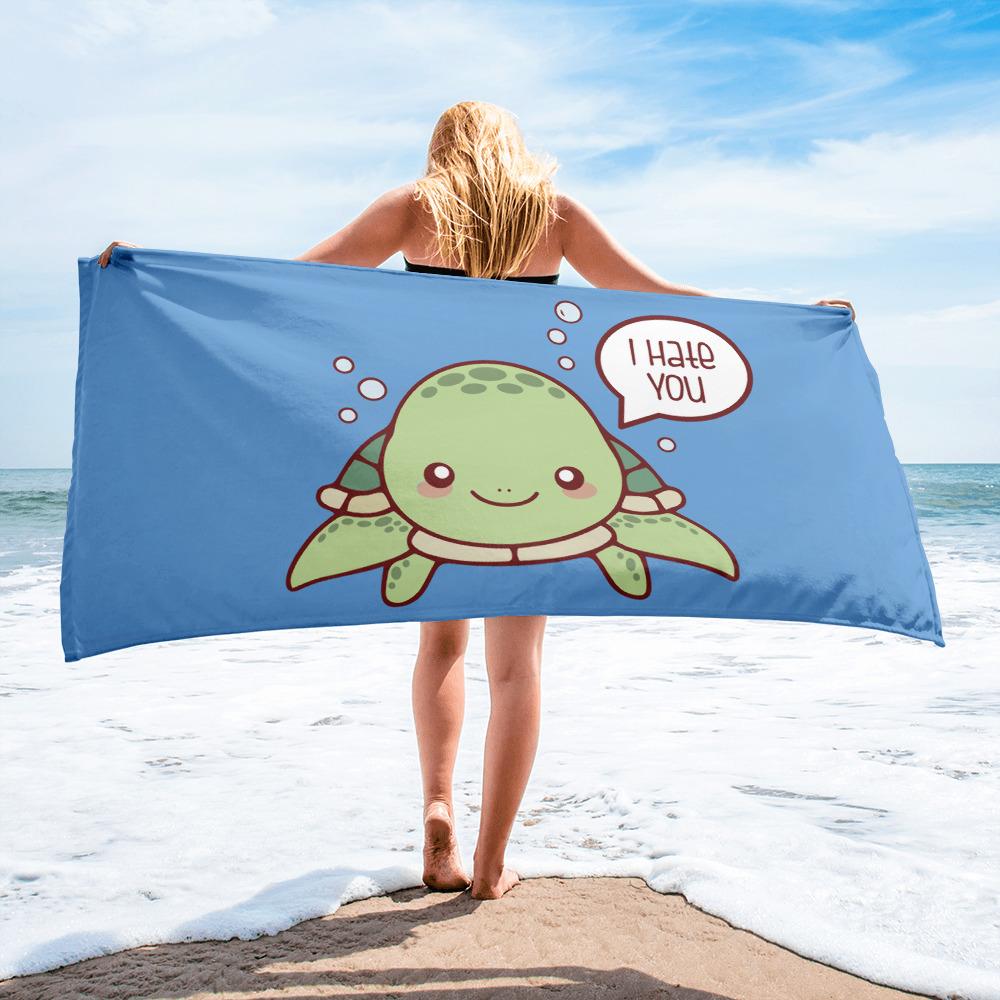 Turtle I Hate You Beach Towel