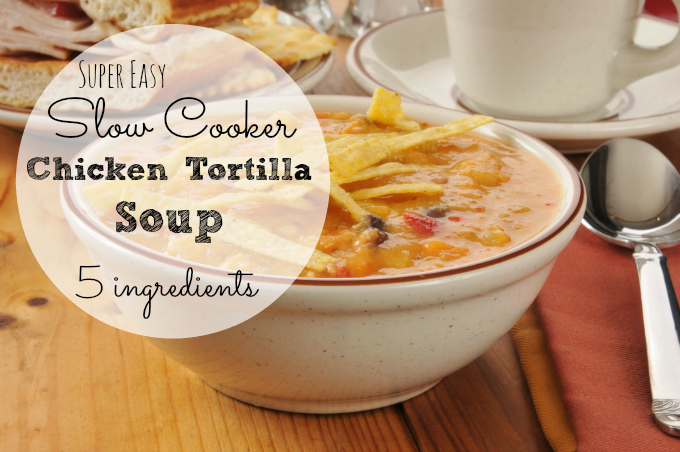 5 Ingredient Slow Cooker Chicken Tortilla Soup