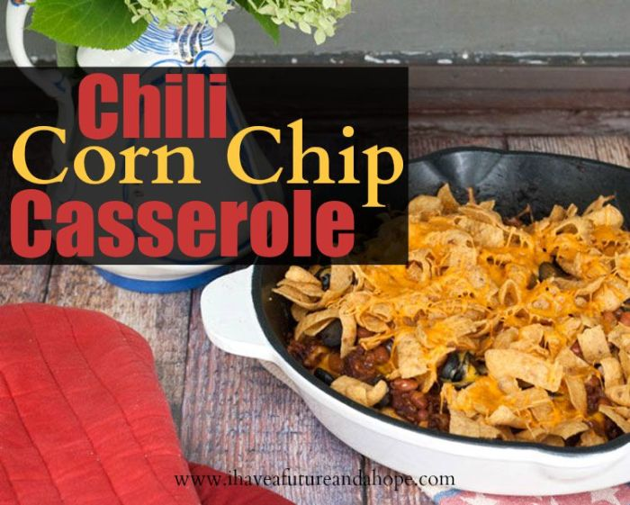 Chili Corn Chip Casserole, Perfect quick and easy meal, perfect for tailgating and more!