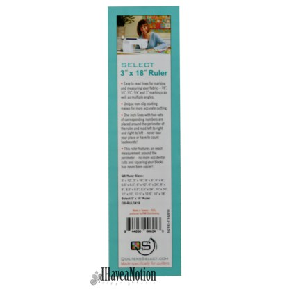 3 x18 inch Quilters Select Ruler lable