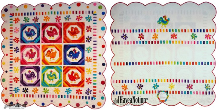 Front and back of the Chicken Dance Quilt