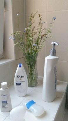 Bathroom with wildflowers from Zeke's field