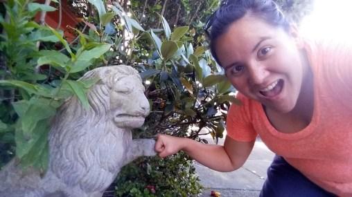 Lion statue that I always fist bump