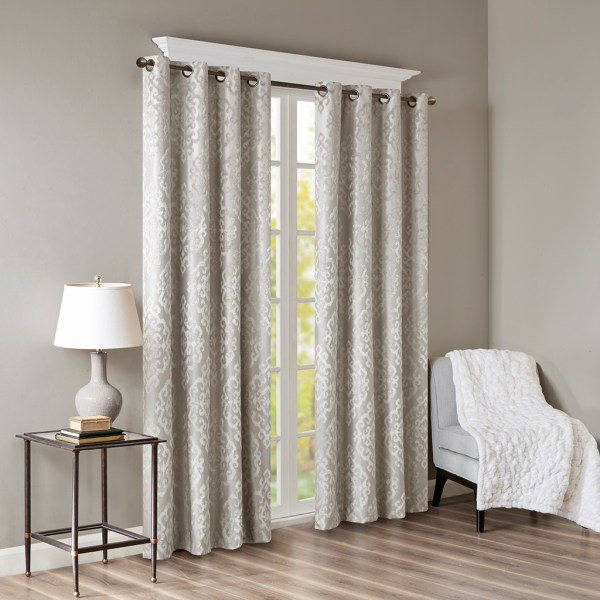 mirage knitted jacquard damask total blackout grommet top curtain panel