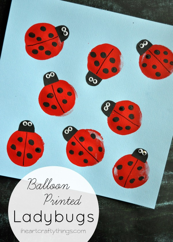 Balloon Print Ladybug Kids Craft