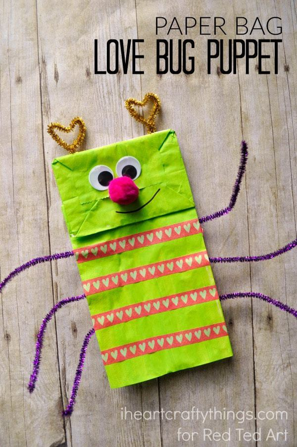 Paper Bag Love Bug Puppet I Heart Crafty Things