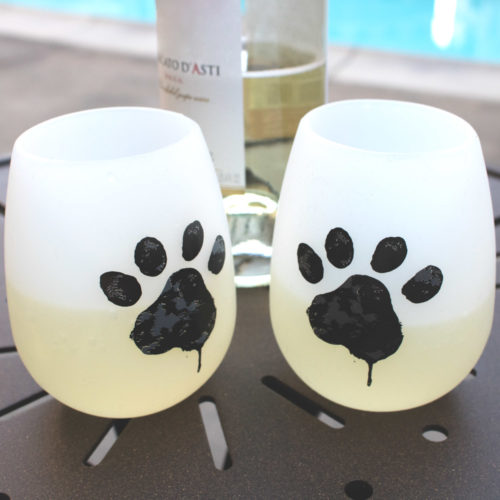 Shatterproof Watercolor Paw Silicone Wine Cups (Set of 2)